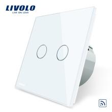 Commutateur électrique panneau de luxe en verre de luxe standard européen à 2 commutateurs sans fil avec télécommande
