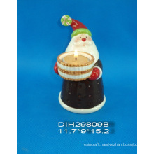 Hand-Painted Ceramic Santa Tealight Candle Holder