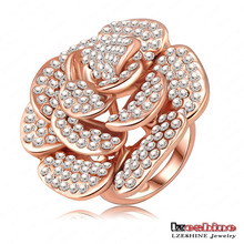 Full Rhionestone Rose Flower Big Finger Rings (Ri-HQ0049)