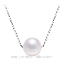 18'' Cultured freshwater white one pearl with box chain necklace for women simple style