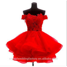 Wholesale Elegant Ruffled Appliqued Lace Short Puffy Red Bridesmaid Dresses MB2583