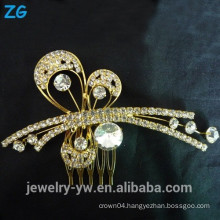 Fashion Design gold plated full crystal hair combs wedding hair comb wholesale hair comb rhinestone hair comb