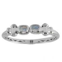 Natürlicher Regenbogen-Edelstein u. 925 silberner Ventage Tone Clamper Armband-Armband