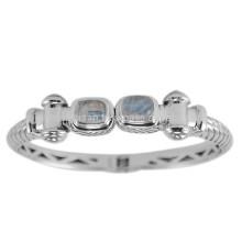 Natural Rainbow Gemstone & 925 Silver Ventage Tone Clamper Bangle Brecelet