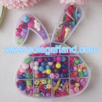 Lovely Rabbit Shape Clean Plastic Storage Jewelry Box With 11 Grids