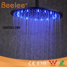 Cabezal de ducha de 12 pulgadas con autoapoyo LED Cabeza de ducha redonda con baño de lluvia negra mate