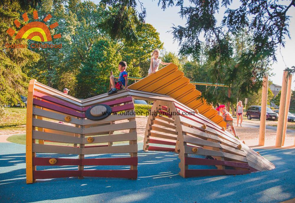 Outdoor Children Natural Wooden Playground
