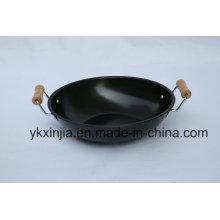 A dupla de madeira Handle Wok ferro