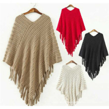 Neueste Design Damen Fancy Quasten Pullover Ponchos und Capes Tücher