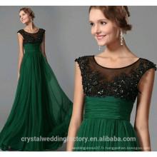 Nouveau design élégant à manches courtes manches vert Patterns Beach Robes de demoiselle d'honneur Long LB36