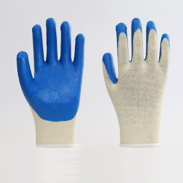 Cotton Liner Blue Latex Coating Smooth Safety Gloves