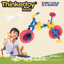 Brinquedos de conexão de plástico, mini brinquedos de jardim de bicicleta