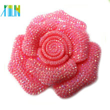 mayor flor de resina de color rosa de cabujón de flatback de resina para joyería