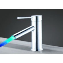 Stainless Steel  / Brass Single Lever Basin Led Faucet Light Color Changing Led Faucet
