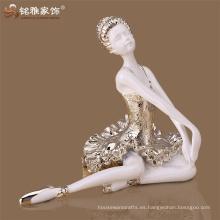 Seguro paquete resina bailarina escultura artesanías de interior arte estatua bailarina de ballet