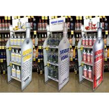 Multifunktions-Knock Down Custom Liquor Store Free Standing Flasche Form Speicher Weinflasche Stand