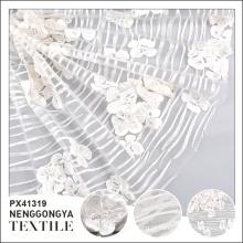 Nova chegada de luxo handwork flor de noiva tecido de tule bordado 3d