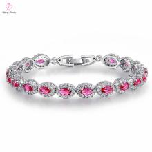La Chine faite sur commande de femmes a plaqué le bracelet de platine de pierres précieuses de l'Italie, bracelet de platine plaqué par diamant en cristal de diamant de bijoux de tennis