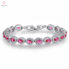 Custom China Made Italy Women Gemstone Plated Platinum Bracelet, Tennis Jewelry Diamond Crystal Sun Plated Platinum Bracelet