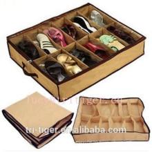 12 Pairs Shoes Organizer foldable zipper fabric storage box
