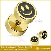 18K Gold plattiert Lächeln Gesicht Edelstahl Fake Plug Ohrringe