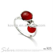Charme jóias rubi mulheres anéis de casamento de prata esterlina