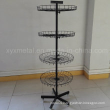 Rotating Display Shelving Stand with Wire Basket