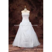 2017 pérolas bordadas organza vestido de noiva com imagens reais