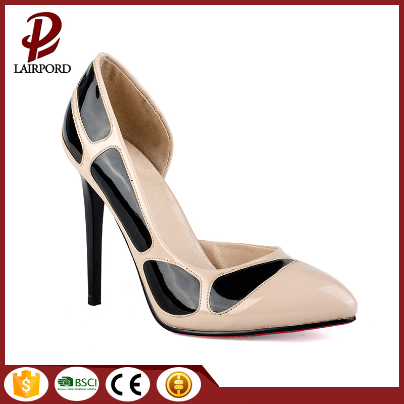white and black PU elegant ladies shoes