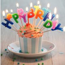 Birthday Party English Letters Praffin Świece woskowe