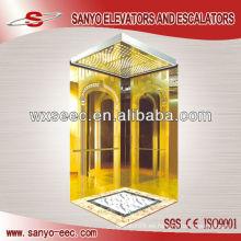 Titanio Espejo de Oro Acero Inoxidable Elevador de Tracción Gearless