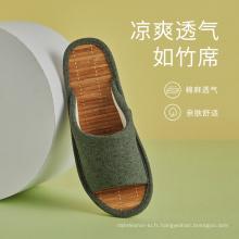 Sandales et chaussons unisexes en lin d'été en tapis de bambou