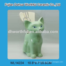Popular green cute fox ceramic utensil holder for kitchen