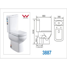 Western Style White Color Ceramic Washdown Two-Piece Toilet (A-3887)
