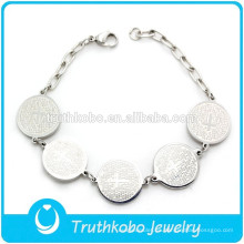 TKB-B0044 Silver Charm Bracelet Engrapeable Accesorio Cross Prayer Jewelry Hot Sale Bracelet 2015
