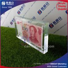 Billete de banco de acrílico claro de la foto para los regalos