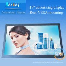 Pantalla de video HD Señalización digital publicitaria LCD de 19 pulgadas