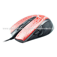 Comfortable USB Optical Mouse with 2,800cpi Adjustable Speed, Rubber Handle Groove