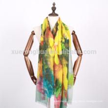 Impressão digital floral tecido lenço de lã mercerizado para queda