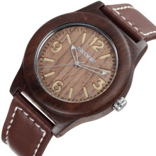 SKONE 9427 expensive hand made wood watch leather