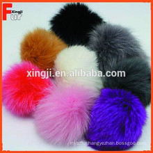 Top quality dyed fox pom for hat/scarf/garment