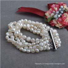 Bracelet à perles d'eau douce naturelle baroque de 5strands Nugget (E150039)