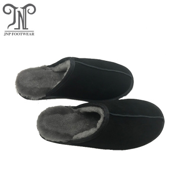 men winter warm sheepskin house slippers soft sole