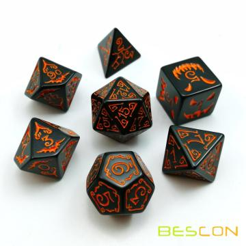 Bescon Halloween Polyhedral Dice 7pcs Set, Halloween RPG Dice Set d4 d6 d8 d10 d12 d20 d% Set of 7 Halloween Dice-DnD Dice
