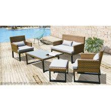 Современный наружный садовый патио Италия Ротанг Плетеная мебель для отдыха Отель PE Resin Rattan Sofa