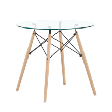 Tempered Glass Top and Wooden Legs Retangular  Dining Table