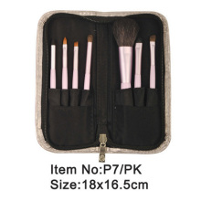 7pcs plastic handle animal/nylon hair cosmetic brush kit with zipper case