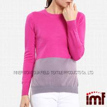2014 Осень Зимняя мода контраст цвета экипажа шеи женщин пуловер 100% шерстяной свитер