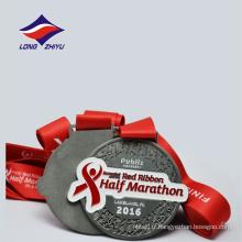 Médaille de demi-marathon de sport de métal de rondeur de couleur antique