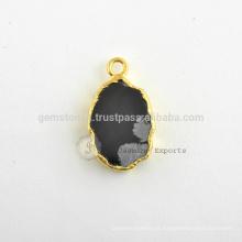 925 plata de ley Micron oro plateado natural copo de nieve obsidiana Gemstone Bisel Conector y encanto Fabricante